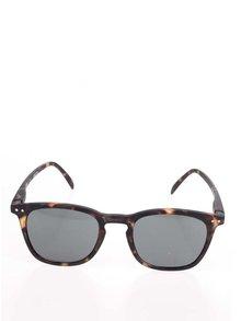 Hnědo-černé vzorované unisex sluneční brýle s černými skly IZIPIZI  #E