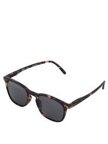 Hnedo-čierne vzorované unisex slnečné okuliare s čiernymi sklami IZIPIZI #E