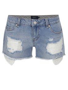 Světle modré džínové kraťasy s krajkovými kapsami ONLY Coral