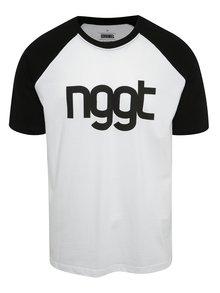 Čierno-biele pánske tričko s potlačou NUGGET Asset