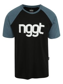 Modro-čierne pánske tričko s potlačou NUGGET Asset