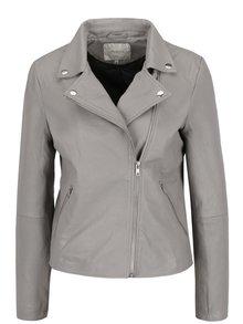 Sivá kožená bunda Selected Femme Marlen
