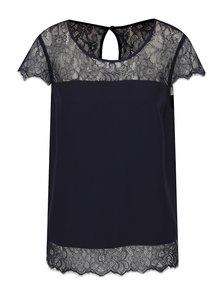 Tricou bleumarin ONLY Lin cu inserții din dantelă