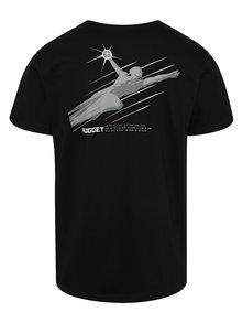 Čierne pánske tričko s jemnou potlačou NUGGET Aeronaut