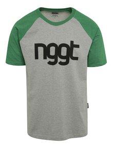 Zeleno-sivé pánske tričko s potlačou NUGGET Asset