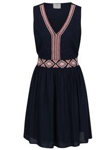 Tmavě modré šaty bez rukávů s ozdobným vyšíváním VERO MODA Jas