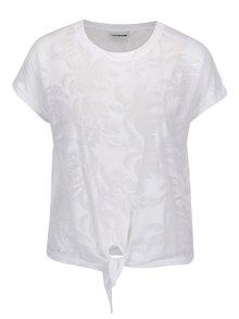 Bílé vzorované tričko s uzlem Noisy May Barton