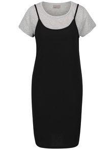 Sivo-čierne šaty so všitým tričkom VERO MODA Noor