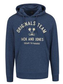 Modrá mikina s kapucňou a potlačou Jack & Jones Tropical