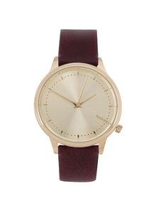 Dámske hodinky v zlatej farbe s vínovým koženým remienkom Komono Estelle
