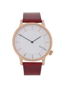 Unisex hodinky v zlatej farbe s červeným koženým remienkom Komono Winston Regal