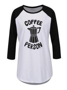 Čierno-biele unisex tričko s dlhým rukávom ZOOT Originál Coffee person
