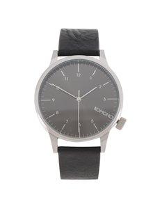 Čierne unisex hodinky s koženým remienkom Komono Winston Regal