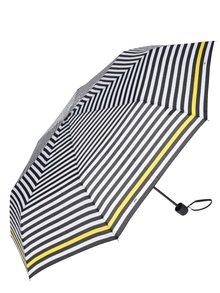 Umbrela crem&negru pliabila cu dungi galbene pentru femei - Derby