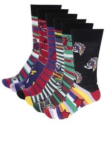 Sada šesti pánských ponožek ve fialové, zelené a červené barvě Oddsocks Tattoe