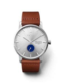 Unisex hodinky ve stříbrné barvě s hnědým koženým páskem TRIWA Blue Eye Falken
