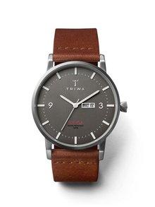 Unisex hodinky ve stříbrné barvě s hnědým koženým páskem TRIWA Dusk Klinga