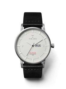 Unisex hodinky v striebornej farbe s čiernym koženým remienkom TRIWA Dawn Klinga