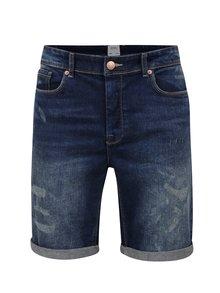 Modré džínové kraťasy s opraným efektem Burton Menswear London