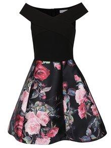Čierne šaty s kvetovanou sukňou AX Paris