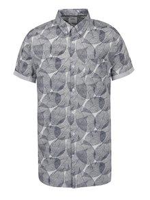 Modrá košeľa s motívom listov Burton Menswear London