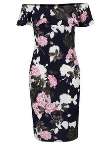 Tmavomodré kvetované šaty s odhalenými ramenami a volánmi AX Paris