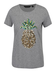 Šedé tričko s flitry a motivem ananasu Dorothy Perkins