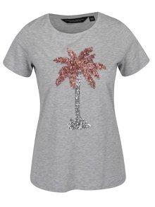 Sivé tričko s flitrami a motívom palmy Dorothy Perkins