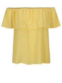 Žltá blúzka s odhalenými ramenami a volánom Dorothy Perkins