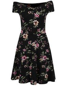 Čierne kvetované šaty s odhalenými ramenami Dorothy Perkins