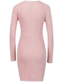 Světle růžové šaty v semišové úpravě AX Paris