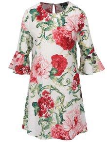 Bílé květované šaty s 3/4 zvonovými rukávy AX Paris