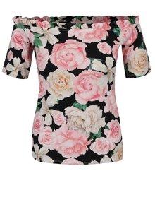 Černé květované tričko s odhalenými rameny a volánem  Dorothy Perkins