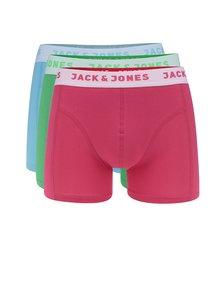 Sada tří boxerek v růžové, modré a zelené barvě Jack & Jones Bright