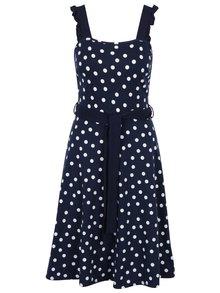 Tmavě modré puntíkované šaty se zavazováním v pase Dorothy Perkins