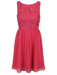Tmavoružové šaty s čipkovaným topom Dorothy Perkins