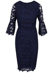 Tmavomodré čipkové šaty s 3/4 rukávom Dorothy Perkins
