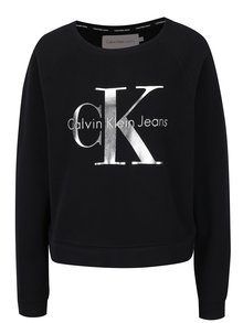 Černá dámská mikina s potiskem ve stříbrné barvě Calvin Klein Jeans Hanna