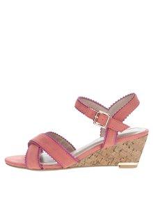 Oranžové sandály v semišové úpravě na klínku Dorothy Perkins