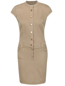 Hnědé šaty s knoflíky v měděné barvě Calvin Klein Jeans Doris