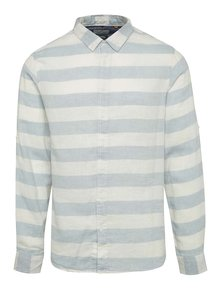 Krémovo-modrá pruhovaná ľanová košeľa Blend