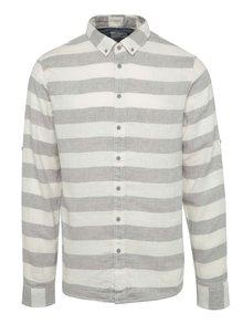 Krémovo-sivá pruhovaná ľanová košeľa Blend