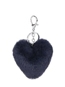 Breloc albastru închis  Haily´s Pompom în formă de inimă