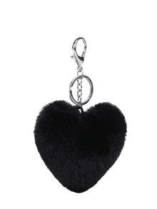 Breloc negru Haily´s Pompom în formă de inimă