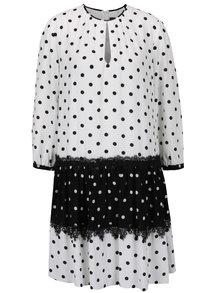 Černo-bílé puntíkované šaty s dlouhým rukávem NISSA