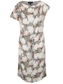Sivé šaty s asymetrickými rukávmi a opaskom NISSA
