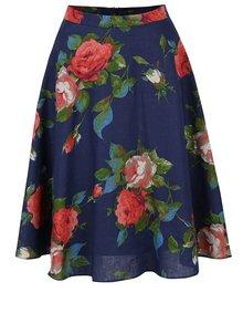 Tmavě modrá lněná sukně s květovaným potiskem NISSA
