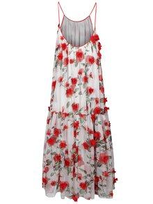 Červeno-biele kvetované voľné maxišaty s tenkými ramienkami NISSA