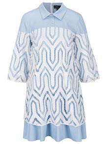 Bílo-modré šaty s límečkem NISSA