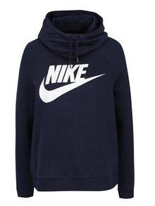 Tmavě modrá dámská mikina s kapucí a potiskem Nike